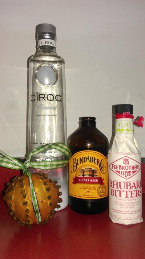 coconut vodka-ginger beer-rhubarb bitters