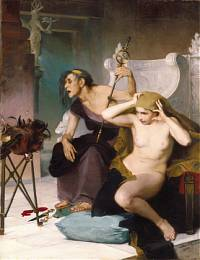 Sarah_Paxton_Ball_Dodson,_The_Bacidae_1883_(two_priestesses_of_Bacis_in_a_prophetic_ecstasy_reading_chicken_entrails)