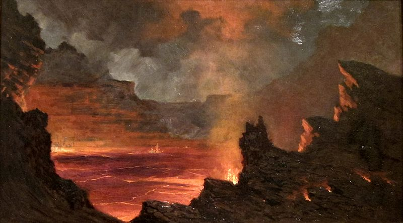 Jules_Tavernier_-_'Halema'uma'u_Crater,_Kilauea_Volcano',_1887,_Isaacs_Art_Center